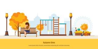 Autumn Time Parc de ville d'automne Fille se reposant en stationnement Images libres de droits