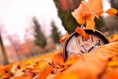 Autumn time, time passes stock photography