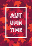 Autumn Time poster Text frame leaves background Royalty Free Stock Photography