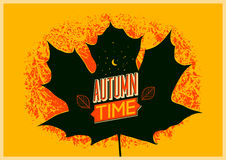 Autumn time retro grunge poster. Vector typographical design. Stock Images