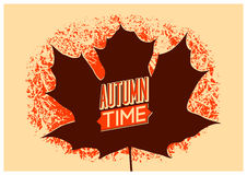 Autumn time retro grunge poster. Vector typographical design. Royalty Free Stock Photos