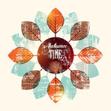 Autumn time retro grunge poster. Vector typographical design. Eps10. Royalty Free Stock Photos