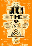 Autumn time retro grunge poster. Vector typographical design. Royalty Free Stock Photo