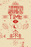 Autumn time retro grunge poster. Vector typographical design. Stock Photography