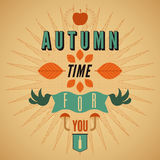 Autumn time retro poster. Vector typographical design. Autumn time retro poster. Vector vintage typographical design Royalty Free Stock Photos