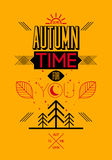 Autumn time retro poster. Vector typographical design. Autumn time retro poster. Vector vintage typographical design Royalty Free Stock Photography