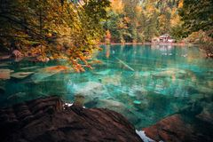 Autumn time at romantic forest lake Blausee, Switzerland. royalty free stock photography
