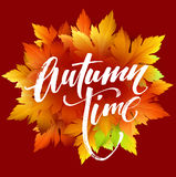 Autumn time seasonal banner design. Fall leaf. Vector illustration Royalty Free Stock Photo