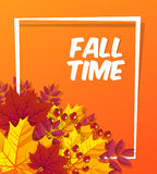 Autumn time seasonal banner design. Fall leaf. Vector illustration EPS10 Royalty Free Stock Photos