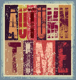 Autumn time typographical vintage grunge poster. Retro vector illustration. Autumn time typographical vintage grunge poster. Vector illustration Stock Image