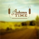 Autumn time vector insignia. Autumn landscape. Autumn time insignia and vector blurred background Stock Photography