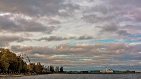 Autumn timelapse harbour view stock video