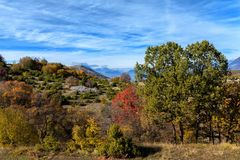 Colours of Abruzzo in Autumb. Autumn to Abruzzo - Colours leaves red and green Stock Photography