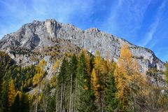 Free Autumn To Malga Ciapela In Italy With The Great Mountain Of The Marmolada Glacier In The Background Royalty Free Stock Photography - 123352917