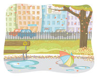 Autumn in town. Vector illustration of a sunny fall day Stock Photo