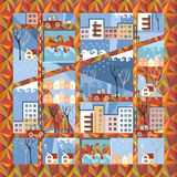 Autumn town in anticipation of winter. Cute cartoon city map. On ornamental background. Vector illustration Stock Photos