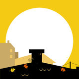 Autumn town black wilhouette with Sunset -. City or Town silhouette - black and yellow. Vector cartoon Illustration Royalty Free Stock Photos