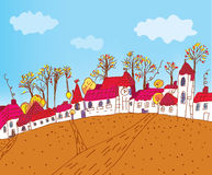 Autumn town sketch cartoon Stock Photo