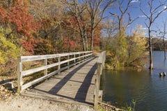Autumn Trail Bridge Royalty Free Stock Photography