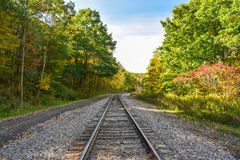 Autumn Train Tracks. A set of train tracks meandering through the Allegheny Mountains of Pennsylvania Stock Photography