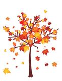 Autumn tree. With falling leafs vector illustration