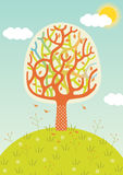 Autumn Tree. Stylized Landscape with Autumn Tree and Flowers royalty free illustration