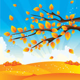 Autumn tree. Vector illustrated tree branch with yellow autumn leaves on the background of blue sky stock illustration
