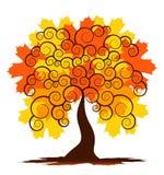 Autumn tree. Illustrated abstract autumn tree on white background Stock Images