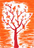 Autumn tree. Simple brush paint sketch hand drawn stock illustration