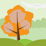 Autumn tree. In the green country.Ecology illustration Royalty Free Stock Images