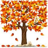Autumn tree. With bird isolated on white background Stock Photos