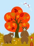 Autumn Tree And Two Bears Stock Image
