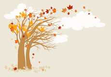 Autumn tree background. With space for text stock illustration