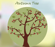 Autumn tree background. Autumn tree with flowers background . Vector stock illustration