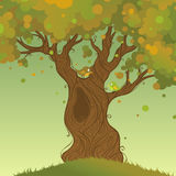 Autumn tree background. Autumn landscape. Vector illustration. There is place for your text Royalty Free Stock Photography