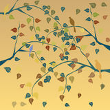 Autumn tree background. Autumn tree with leaves background. Vector illustration Royalty Free Stock Image