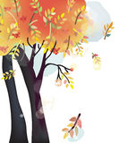 Autumn tree background watercolor style Stock Photos