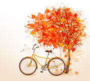 Autumn tree background with a yellow bicycle. Vector royalty free illustration