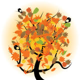Autumn tree with birds Royalty Free Stock Photos