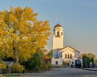 Autumn tree and boise train depot Royalty Free Stock Images