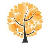 Autumn Tree bonito em um vetor branco do fundo Foto de Stock