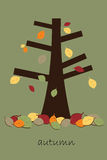 Autumn tree card. Illustration of an autumn card with a tree and falling leaves.EPS file available Royalty Free Stock Photo