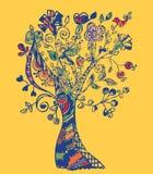 Autumn tree card whimsical Stock Photo