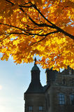 Autumn tree with castle Royalty Free Stock Photography