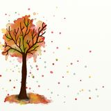 Autumn tree child painting Royalty Free Stock Images