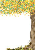 Autumn tree with colorful leaves vector illustration