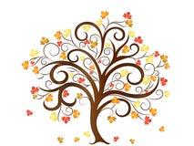 Autumn Tree con l'illustrazione di vettore delle foglie Fotografia Stock Libera da Diritti