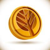 Autumn tree 3d vector round icon. Autumn tree 3d vector round icon isolated on white background Royalty Free Stock Photos