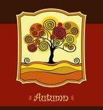 Autumn tree. defoliation leaf fall. Season Stock Illustration