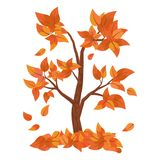 Autumn tree with falling leaves isolated on white background. Pile of leaves. Vector Illustration Royalty Free Illustration
